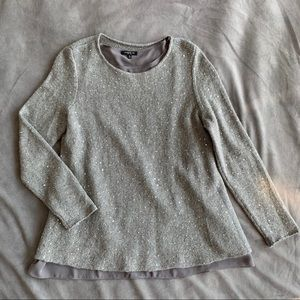 Lafayette 148 gray cashmere sweater with sequins